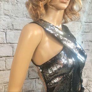 Express Silver Sequin Event Dress 6